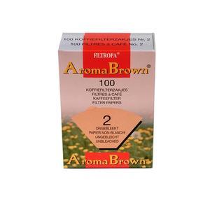 Filtropa - Aroma Brown - Oblekta ekologiska filter - Storlek 2 - 1x2 - För bästa smak på kaffet