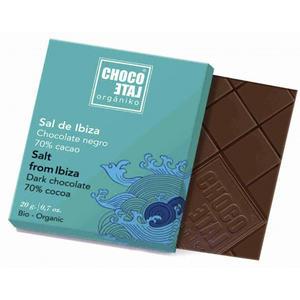 ChocoLate Orgániko - Dark Chocolate 70% with Flower of Salt from Ibiza - 20g
