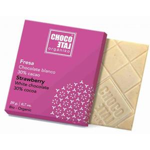 ChocoLate Orgániko - White Chocolate with Strawberry - 20g
