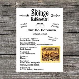 Slöinge kafferosteri - Emilio Fonseca - Costa Rica - Ljusrostade kaffebönor - 250g
