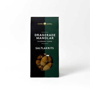 Mandel och Mandel - Dragerade mandlar saltlakrits - Läckra chokladdragerade mandlar handgjorda i Sverige