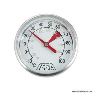 Ilsa - Milk Thermometer - Mjölktermometer med 13cm sond i rostfritt stål - Sätts fast direkt på mjölkkannan!