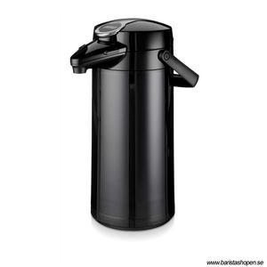 Bonamat - Airpot Furento - Svart pumptermos med glaskärna och plasthölje - 2,2 liter