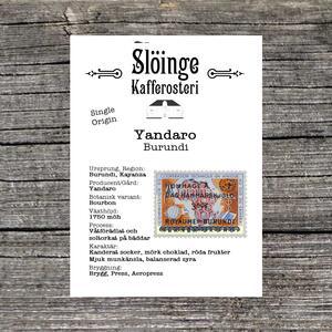 Slöinge kafferosteri - Yandaro - Burundi - Ljusrostade kaffebönor - 250g