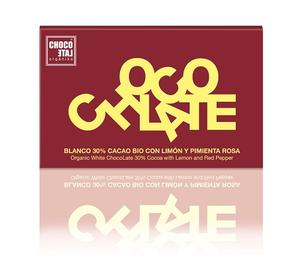 ChocoLate Orgániko - *passerat datum* - White Chocolate with Lemon & Pink Pepper - 70g