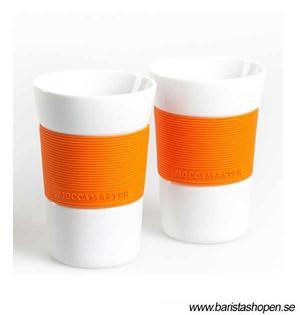 Moccamaster Kaffemuggar 2-pack - Vita med Orange silikongrepp