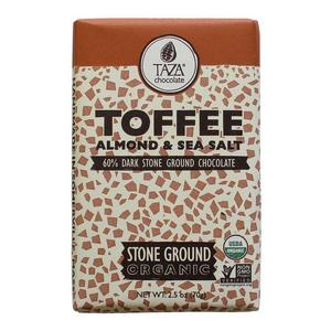 Taza Chocolate Toffee, Almond & Sea Salt - 60% - Ekologisk choklad  - 70g