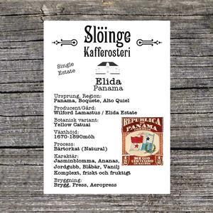 Slöinge kafferosteri - Elida - Panama - Natural - Ljusrostade kaffebönor - 250g