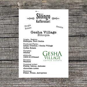 Slöinge kafferosteri - Gesha Village - Geisha - Etiopien - Ljusrostade kaffebönor - 250g