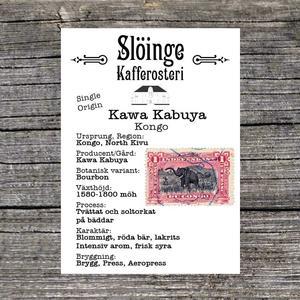 Slöinge kafferosteri - Kawa Kabuya - Kongo - Tvättat och soltorkat på bäddar - Ljusrostade kaffebönor - 250g