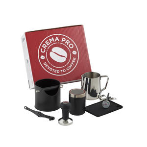 CREMA PRO - Komplett och professionellt  baristakit - Med sumplåda, tamper, mjölkkanna etc - Svart