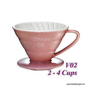 Tiamo - Ceramic V02 Dripper Pink - Rosa porslinsfilter 2-4 koppar, Skopa ingår