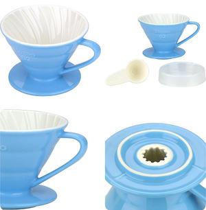 Tiamo - Ceramic V02 Dripper Light Blue - Ljusblått porslinsfilter 2-4 koppar, Skopa ingår!