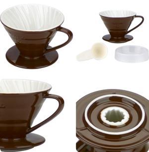 Tiamo - Ceramic V02 Dripper Brown - Brunt porslinsfilter 2-4 koppar, skopa ingår