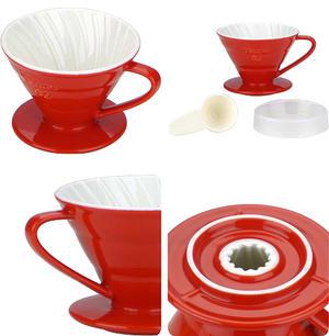 Tiamo - Ceramic V02 Dripper Red - Rött porslinsfilter 2-4 koppar, skopa ingår