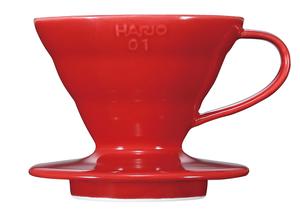 Hario - V60 01 - PorslinsFilter Röd 1kopp