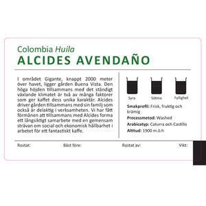 da Matteo - Alcides Avendaño - tvättat - Huila, Colombia - Ljusrostade kaffebönor - 250g