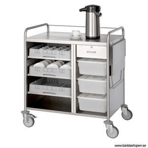 Bonamat - Serveringsvagn 30S - Idealisk för att servera kaffe och andra drycker - Inklusive utrymmen för behållare och sopsäck Rostfritt stål