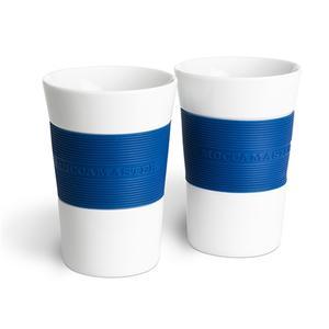 Moccamaster Kaffemuggar 2-pack - Vita med Blå silikongrepp
