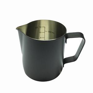 Baristashopen - Black Measure Pitcher - Svart mjölkkanna med mått i kannan för att skumma mjölk till cappuccino och latte - 350ml